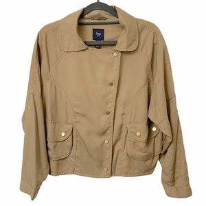 GAP Open Front Draped Crop Jacket w/ Gold Buttons